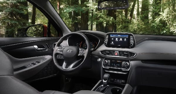 The interior of an all-new Santa Fe driving through the forest near Lethbridge