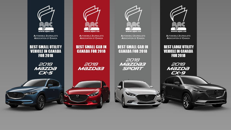 Mazda vehicle winners of the 2018 AJAC awards
