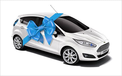 Ford Fiesta with a bow