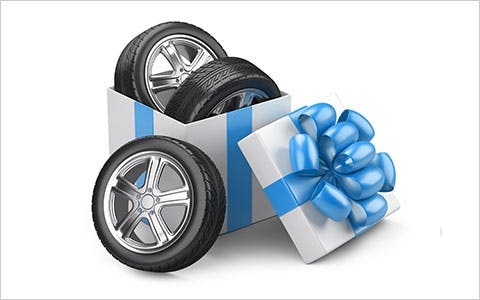 Tires in a gift box