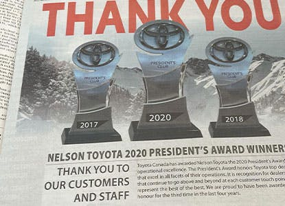 Nelson Toyota: Your 3X President's Award Winner