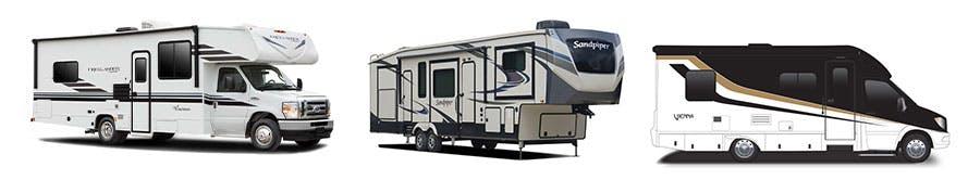 2021 Coachmen Freelander Motorhome, 2021 Forest River Sandpiper Fifth Wheel, 2021 Renegade RV Vienna Camper Van