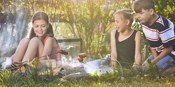 food-camping-children-enjoy-campfire