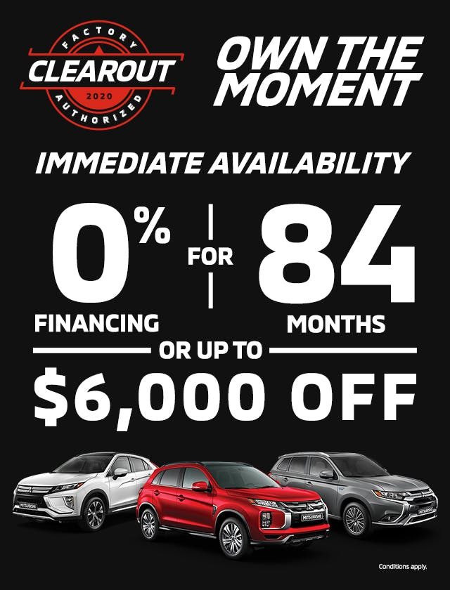 0% Financing 84 months 6,000 dollars off all 2020 mitsubishi rvr outlander eclipse cross phev and mi
