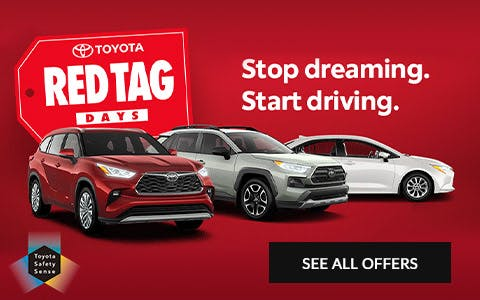 toyota red tag days - stop dreaming start driving